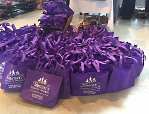 A photo of welcome bags put together by WIN members