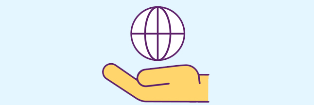 Globe in hand icon for funding