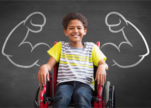 boy in wheelchair with chalk muscles