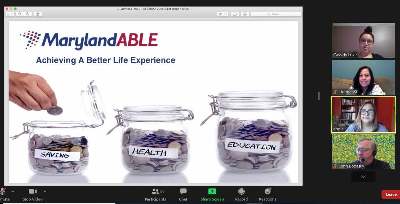 CORE Foundations participates in the Maryland ABLE webinar via Zoom