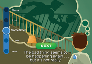 "A screenshot from the app. It shows an illustration of a boy, with the text, ""The bad thing seems to be happening again... but it's not really."""