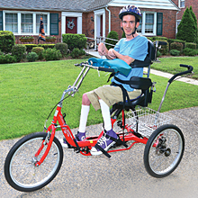 Kevin on an adaptive tricycle