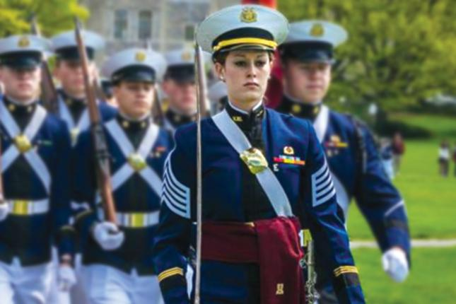 Kylie Himmelberger marching with the Air Force ROTC