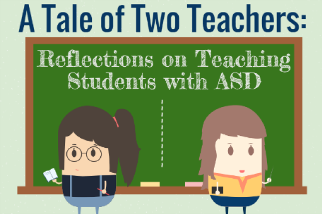 An illustration of two teachers at a chalkboard, facing the opposite directions