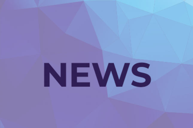 "The word ""NEWS"" appears atop a purple and blue geometric background"
