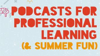 "An illustration of a microphone, surrounded by illustrations of brains, books, and the sun, accompany the words ""Podcasts for Professional Learning (& Summer Fun)"""
