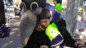 Garrett and the Ravens mascot, Poe