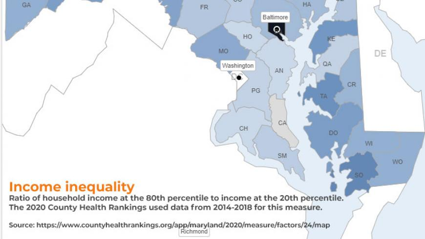 Income inequality in Maryland. Source: County Health Rankings & Roadmaps