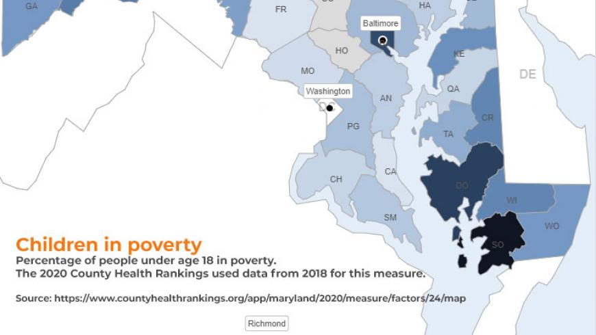 Children living in poverty in Maryland. Source: County Health Rankings & Roadmaps